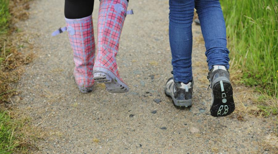 Walkers boots and wellies on a gravel path. ©Lorne Gill/SNH. For information on reproduction rights contact the Scottish Natural Heritage Image Library on Tel. 01738 444177 or www.nature.scot