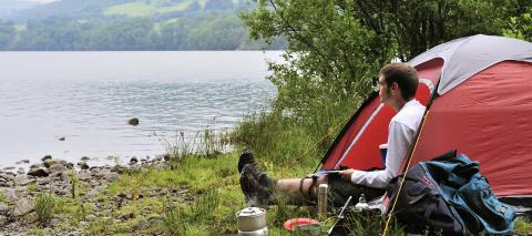 Camper at Loch Tummel, Tayside and Clackmannanshire Area.